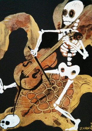 "Turtle Ride - 5"" x 7"" - Acrylic and Collage on Hardboard"