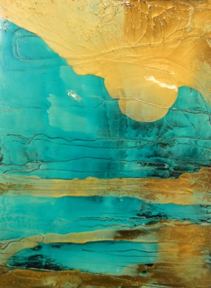"**SOLD** Dream Strata - 40"" x 30"" - Acrylic and Gold Mica on Canvas"