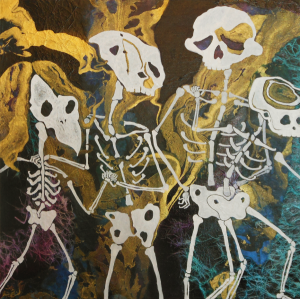 """The Dead Can Dance - 18"""" x 18"""" - Acrylic and Collage on Wood"""