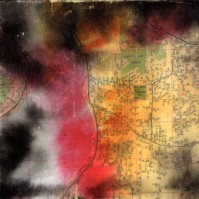 """ProtoNext #128 Acrylic and Map Ink on Paper, mounted on wood, 5""""x5"""""""