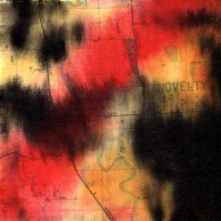 """ProtoNext #130 Acrylic and Map Ink on Paper, mounted on wood, 5""""x5"""""""