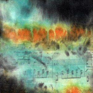 """**SOLD** ProtoNext #42 Acrylic and Sheet Music on Paper, mounted on wood, 5""""x5"""""""