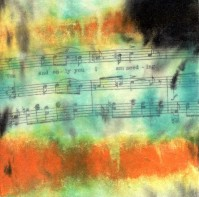 "**SOLD** ProtoNext #43 Acrylic and Sheet Music on Paper, mounted on wood, 5""x5"""