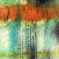 "**SOLD** ProtoNext #45 Acrylic and Sheet Music on Paper, mounted on wood, 5""x5"""
