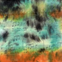 "**SOLD** ProtoNext #47 Acrylic and Sheet Music on Paper, mounted on wood, 5""x5"""