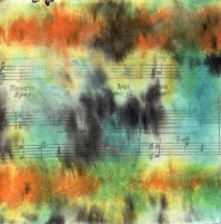 "ProtoNext #49 Acrylic and Sheet Music on Paper, mounted on wood, 5""x5"""