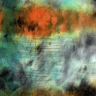 """ProtoNext #50 Acrylic and Sheet Music on Paper, mounted on wood, 5""""x5"""""""