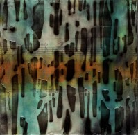 """ProtoNext #51 Acrylic and Sheet Music on Paper, mounted on wood, 5""""x5"""""""