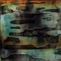 """ProtoNext #54 Acrylic and Sheet Music on Paper, mounted on wood, 5""""x5"""""""